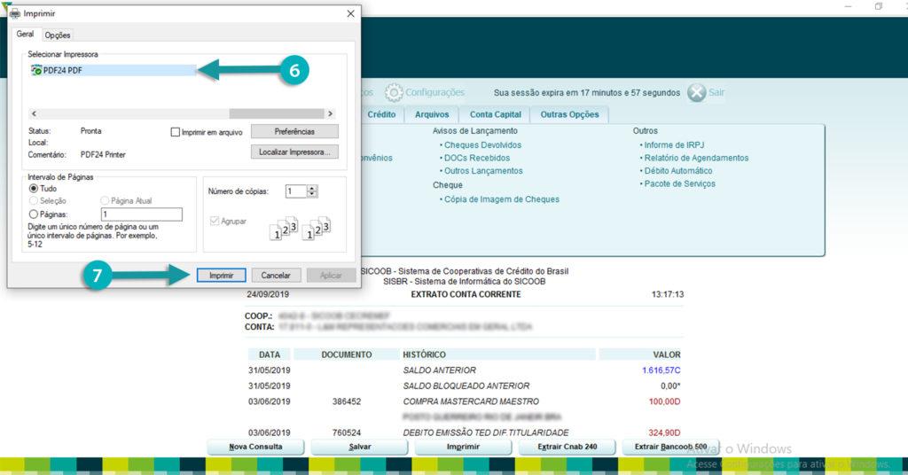 imprimindo o extrato bancário do sicoob em pdf