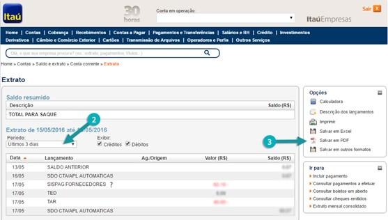 extrato bancário Itau por período