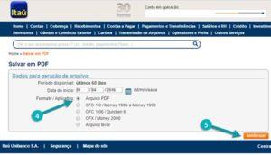 salvando extrato bancário itau em pdf