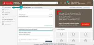 tela inicial santander internet banking